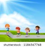 children walking on the street... | Shutterstock .eps vector #1186567768