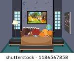 children watching tv in living... | Shutterstock .eps vector #1186567858