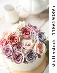 buttercream flower cake with... | Shutterstock . vector #1186590895