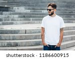 a young stylish man with a... | Shutterstock . vector #1186600915