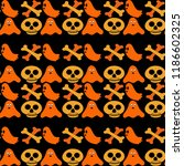 halloween pattern with skull...   Shutterstock .eps vector #1186602325