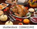 roasted pepper turkey for... | Shutterstock . vector #1186611442
