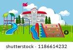 school yard playground scene... | Shutterstock .eps vector #1186614232