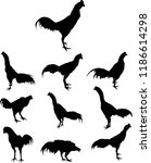 fighting cock silhouette vector.... | Shutterstock .eps vector #1186614298