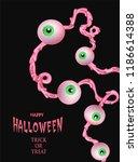 halloween poster with garland... | Shutterstock .eps vector #1186614388