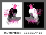 ladies night party banners with ... | Shutterstock .eps vector #1186614418
