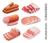 set of meat products in flat... | Shutterstock .eps vector #1186628602