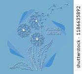 delicate and elegant dandelions.... | Shutterstock .eps vector #1186635892