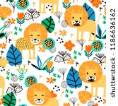 seamless pattern with cute lion ... | Shutterstock .eps vector #1186636162