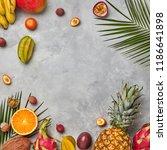 various juicy exotic fruits ... | Shutterstock . vector #1186641898