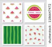 watermelon design elements set. ... | Shutterstock .eps vector #1186647472