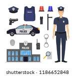 cartoon color policeman and...   Shutterstock .eps vector #1186652848