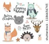 woodland animals vector... | Shutterstock .eps vector #1186656745