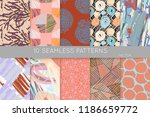 collection of seamless patterns.... | Shutterstock .eps vector #1186659772