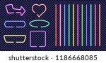 set of neon colored frames.... | Shutterstock .eps vector #1186668085