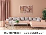 modern interior of living room...   Shutterstock . vector #1186668622