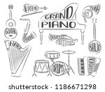 set of musical instruments with ... | Shutterstock .eps vector #1186671298