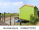 french wooden oyster hut in the ... | Shutterstock . vector #1186671952