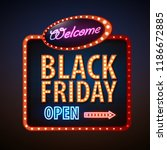 neon sign black friday open.... | Shutterstock .eps vector #1186672885