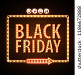 neon sign black friday open.... | Shutterstock .eps vector #1186672888