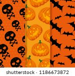 happy halloween celebration set ... | Shutterstock .eps vector #1186673872
