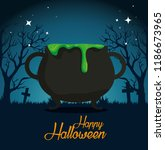 halloween card with cauldron in ... | Shutterstock .eps vector #1186673965