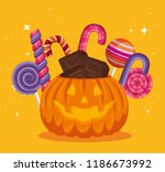 halloween card with pumpkin and ... | Shutterstock .eps vector #1186673992