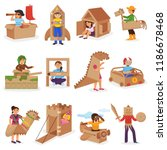 kids in box vector creative... | Shutterstock .eps vector #1186678468