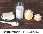 natural homemade products  milk ... | Shutterstock . vector #1186685362