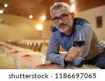 winemaker tasting red wine in... | Shutterstock . vector #1186697065