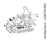 happy halloween. lettering.... | Shutterstock .eps vector #1186701382