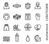 boxing and fighting icons set...   Shutterstock .eps vector #1186701808