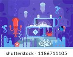 open gold chest on seabed on... | Shutterstock . vector #1186711105