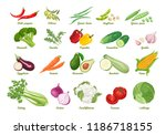 set of vector icons vegetables. ... | Shutterstock .eps vector #1186718155