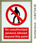 no unauthorised persons allowed ... | Shutterstock . vector #118672618