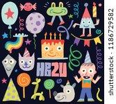 happy birthday doodle set 1.... | Shutterstock .eps vector #1186729582
