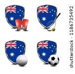 australia shield. sports items   Shutterstock . vector #1186735492