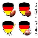 germany shield. sports items   Shutterstock . vector #1186735495