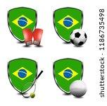 brazil shield. sports items   Shutterstock . vector #1186735498