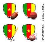 cameroon shield. sports items   Shutterstock . vector #1186735552