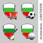 bulgaria shield. sports items   Shutterstock . vector #1186735558