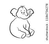 cute elephant in a black...   Shutterstock . vector #1186736278
