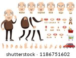 aged man in brown sweater and... | Shutterstock .eps vector #1186751602