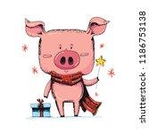 cute new 2019 year symbol ... | Shutterstock .eps vector #1186753138