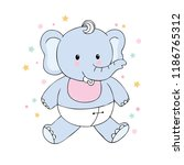 cartoon cute baby elephant... | Shutterstock .eps vector #1186765312