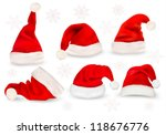big collection of red santa... | Shutterstock .eps vector #118676776