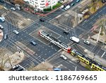 A City Crossing With Tram And...