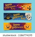 happy halloween banners set.... | Shutterstock .eps vector #1186774195