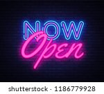 now open neon text vector... | Shutterstock .eps vector #1186779928