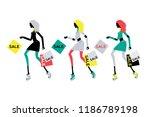 fashion women holding shopping... | Shutterstock .eps vector #1186789198